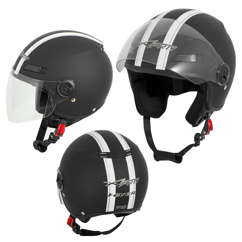 A-Pro Motorradhelm Motorrad Roller Offenes Jet Helm Viser ECE 22 05 Weiss XL 5180000082147