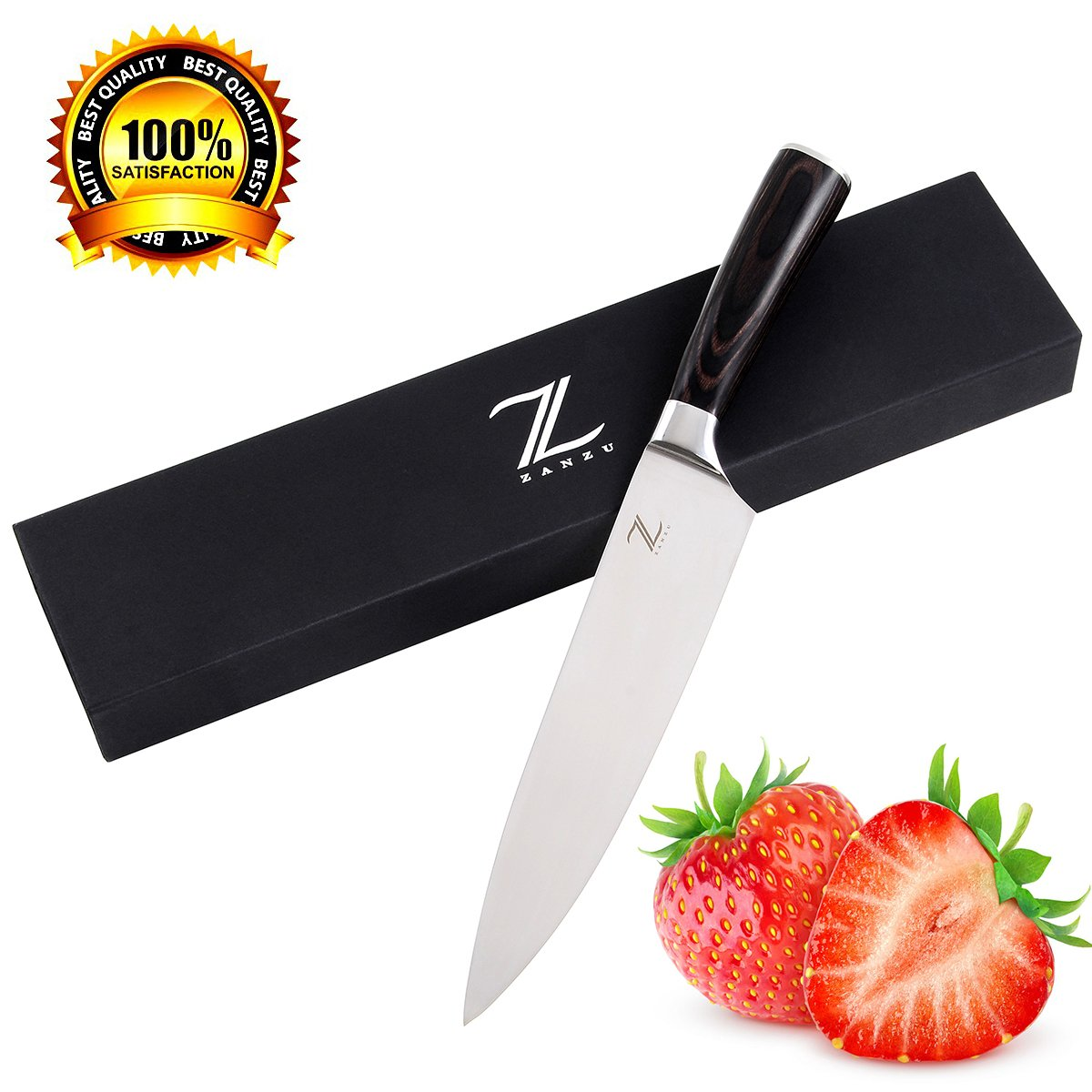 ZANZU Kitchen Knife Chef's Knife 8 Inches Japanese Stainless Steel Chef Knife High Carbon Cooking Professional Sharp Knives With Ergonomic Handle