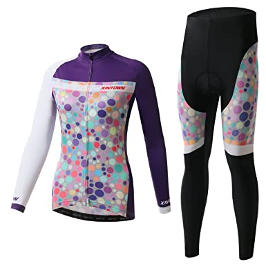 Ophelia Outdoor Purple Women s Cold Winter Fleece Long Sleeve Cycling  Jersey Pants Set (S 5f1a6937d