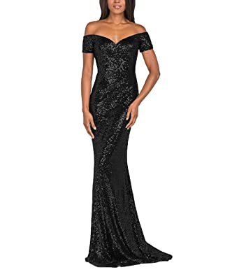 45439790a3f0 YSMei Women s Vintage Off Shoulder Long Mermaid Evening Prom Dress Sequins Formal  Gown Black 2