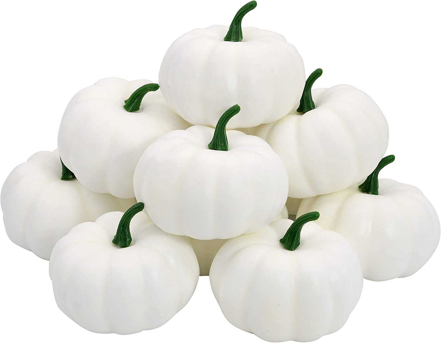 Thanksgiving Artificial White Pumpkins 12 PCS Fake Home Decoration Assorted Size for Fall Harvest Decor, Thanksgiving or Halloween Decoration, Festival, Garden