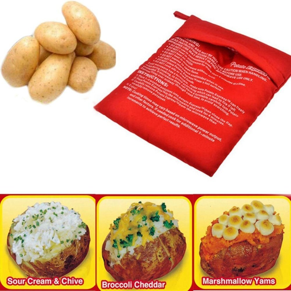 Kitchen Cooking Washable Reuseable Bags Microwave Baked Potato Express Bag