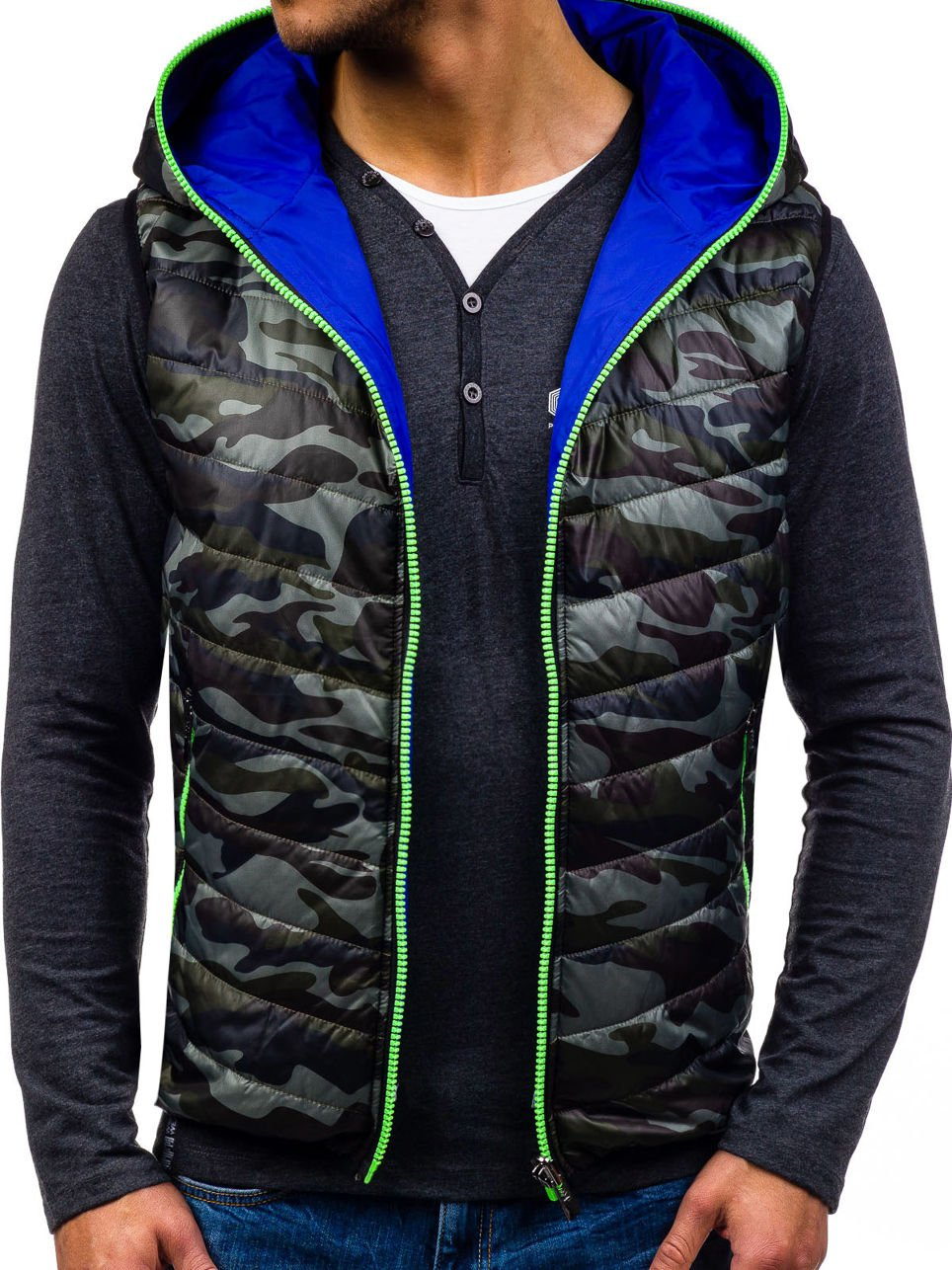 BOLF Men's Hooded Gilet Sport Vest Casual Bodywarmer Padded Zip Mix [4D4]