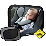 Baby Car Mirror for Back Seat (Fully Assembled) - Christmas Holiday BONUS Pair of Sunshades, Baby on Board Sign, & Microfiber Cleaning Cloth