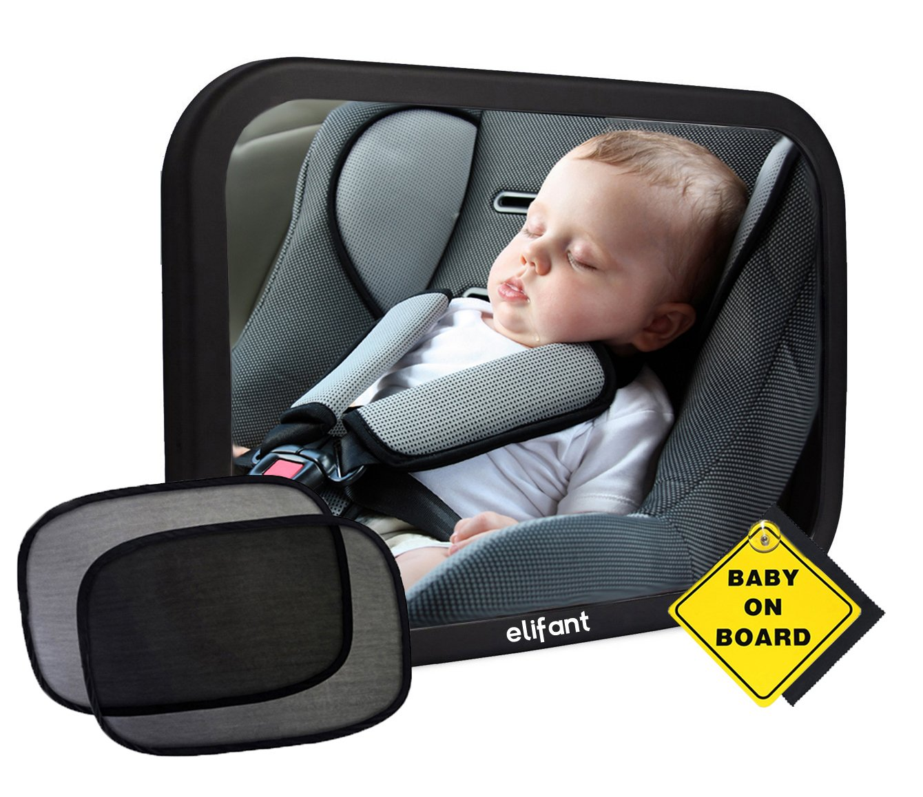 Baby Car Mirror for Back Seat (Fully Assembled) - BONUS Pair of Sunshades, Baby on Board Sign, & Microfiber Cleaning Cloth - LIFETIME WARRANTY by elifant baby backseat car mirror