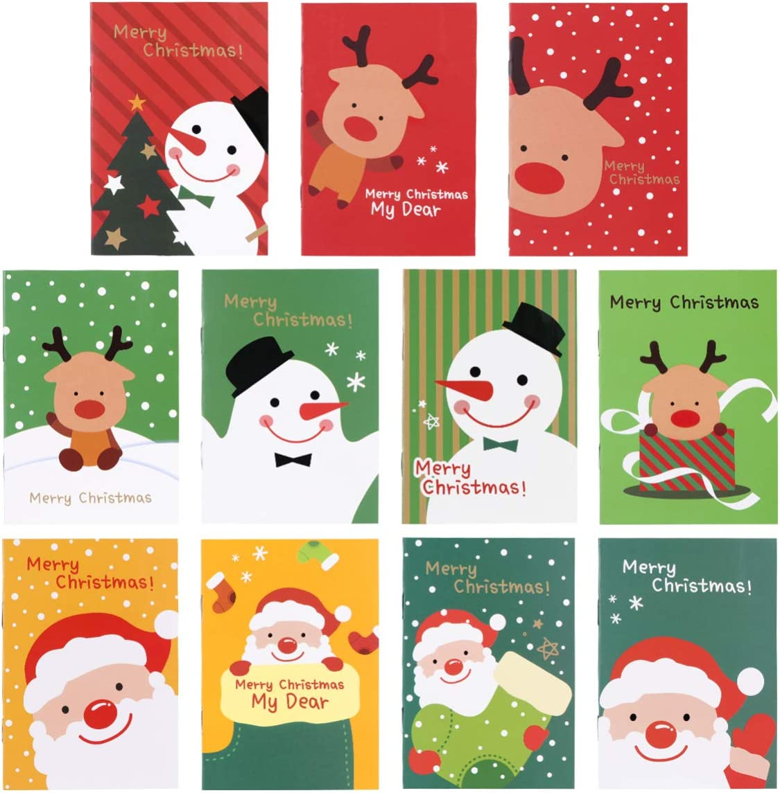 Toddmomy 48 Piezas Mini Libretas Navideñas Cuadernos de Bolsillo para Niños Estudiantes Regalos Navideños Favores de Fiesta Relleno de Almacenamiento (Estilo Aleatorio)