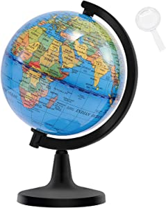 "Wizdar 4"" World Globes for Children, Educational World Map Globe Decorative Earth Globe for Classroom Geography Teaching, Office & Desk Decoration"