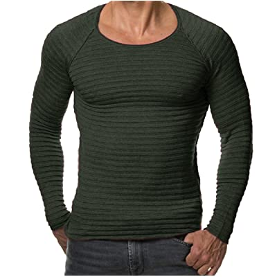 Abetteric Men Solid Plus Size Scoop Neck Long Sleeve Sweater Pullover