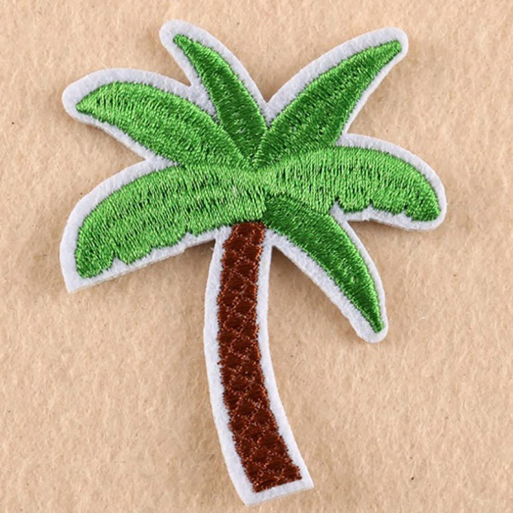 Potato001 5Pcs Coconut Palm Tree Embroidered Patch Iron on Patch DIY Sewing Applique