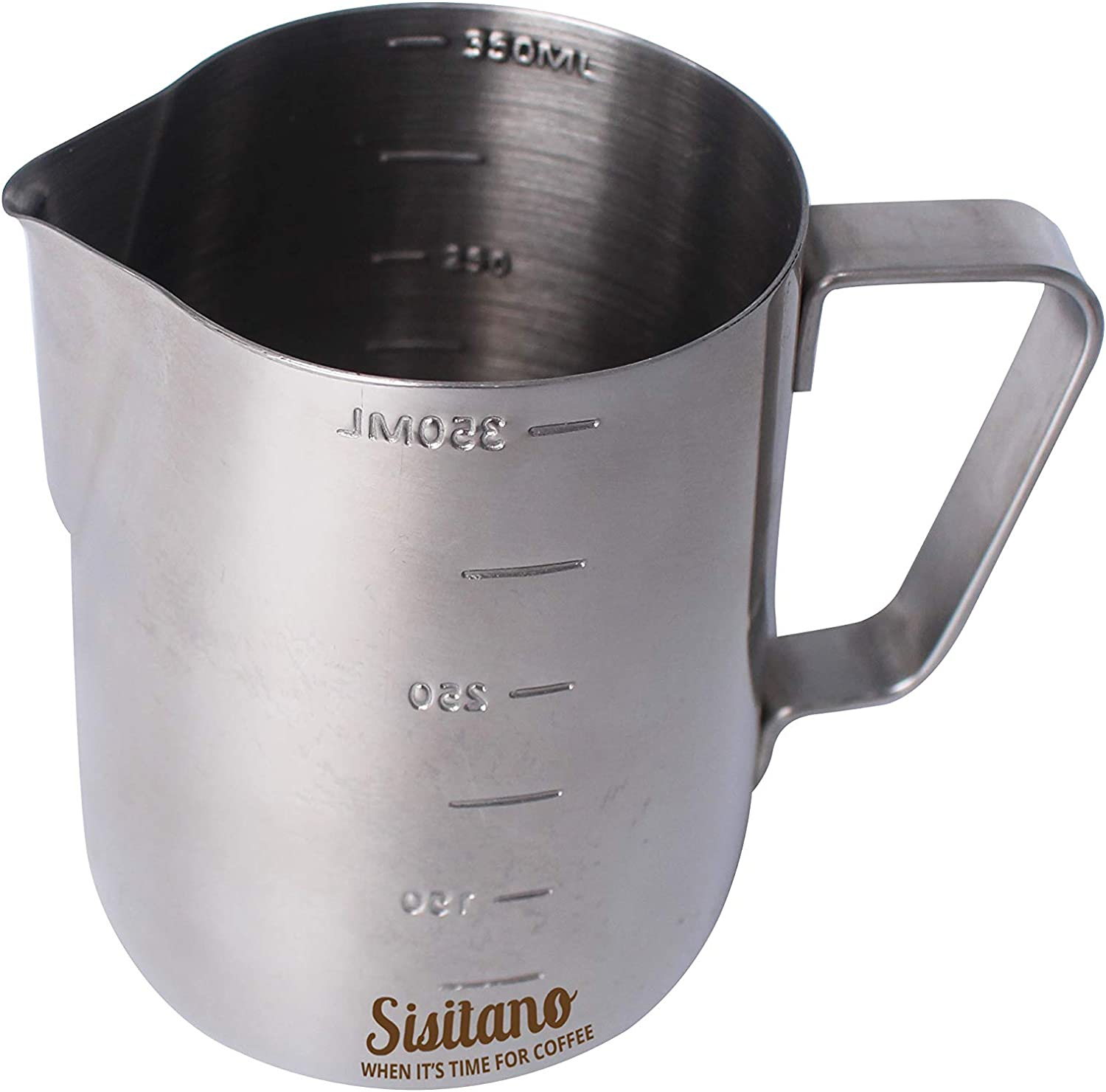 Sisitano Stainless Steel Milk Frothing Pitcher - Espresso Milk Steaming Pitcher 12oz 350ml. Milk Frother Pitcher With Drip Control For Perfect Coffee-Art Every Time. 71gqjE9Y-vL