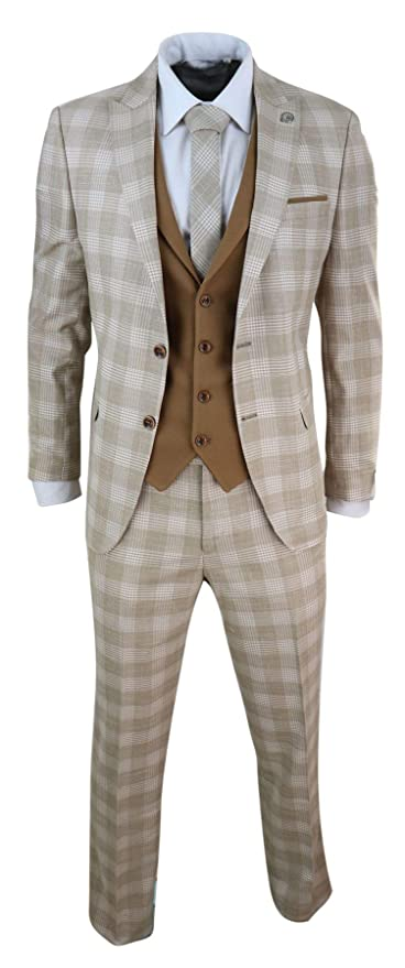 Men's Vintage Style Suits, Classic Suits Mens 3 Piece Suit Check 1920s Gatsby Tweed Vintage Beige Classic Wedding Prom $175.49 AT vintagedancer.com