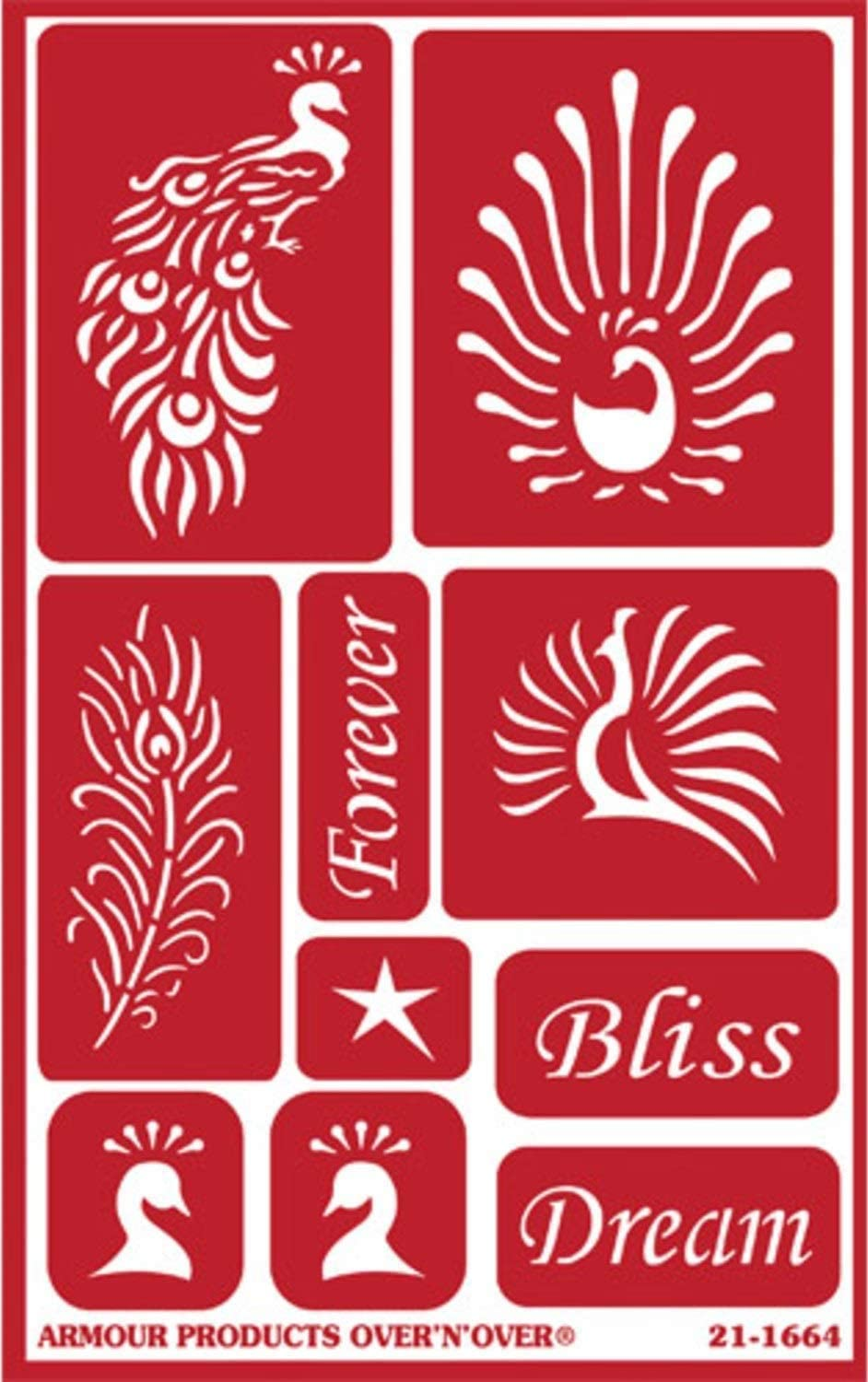 Peacock Designs 2 Etching Stencils for Glass Bliss Set Includes Brush Reusable Etch Stencils for Glass with Yoga Theme with Namaste Lotus Flower Feather Total 3 Items Om
