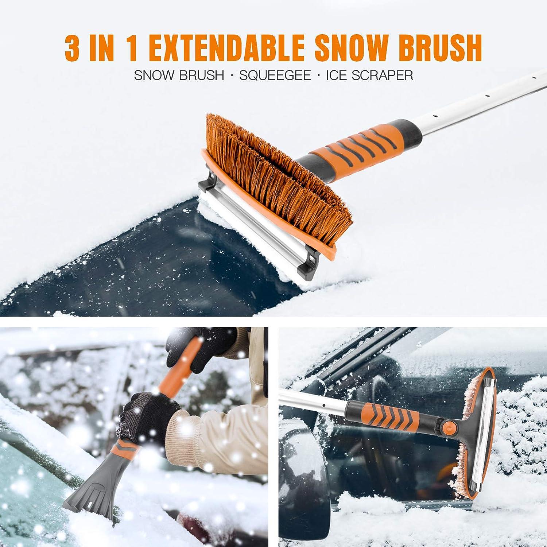 AURELIO TECH 51 Extendable Snow Brush Shovel /& Ice Scraper Auto Windshield Snow Brush Long Handle Removal Tool Winter for Car SUV Trucks