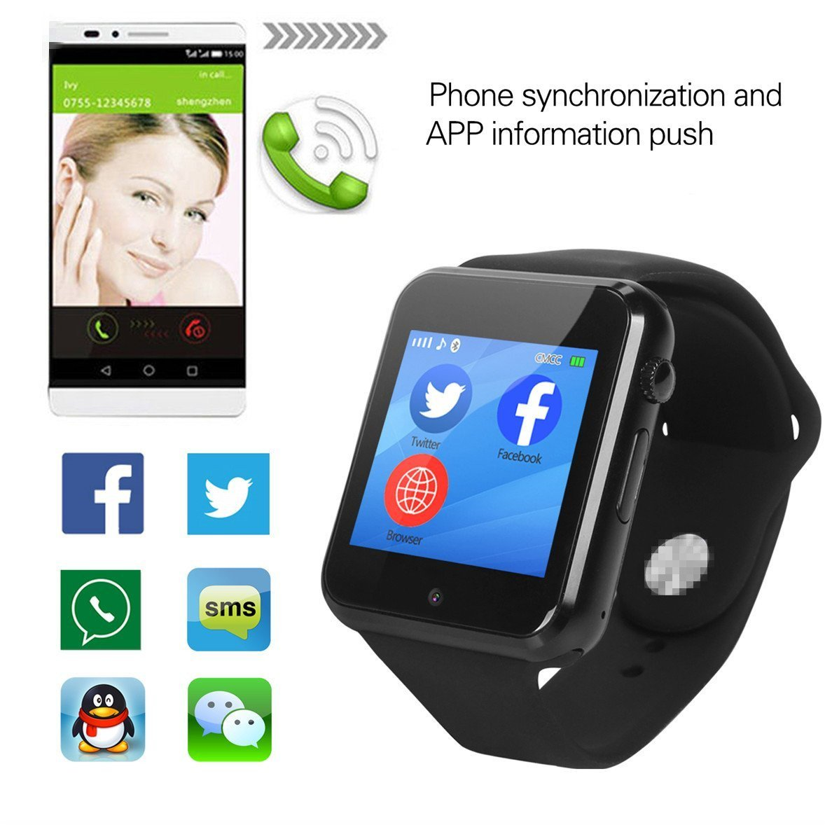 Smart Watch,OURSPOP G1 Bluetooth Touch Screen SmartWatch Unlock Cell Phone SIM 2G GSM With Camera Sleep Monitor,Push Message,Anti lost etc for Men Women Kids Boys Girls