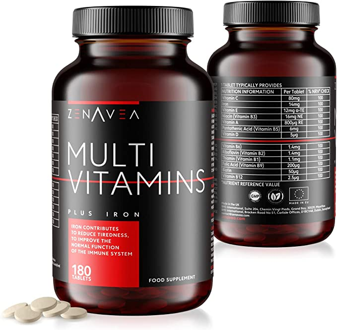 Zenavea - 180 Multivitamins Biotin and Minerals Food Supplements with Iron Suitable for Vegetarians - Made in UK - Tablets with Vitamins to Boost Your Energy - 6 Month Vitamin Supply for Men and Women: Amazon.co.uk: Health & Personal Care