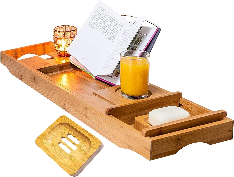Handmade To Order Wooden Bath Caddy Solid Wood Tray Wine Holder shelf Bridge