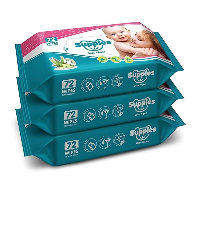 Supples Baby Wet Wipes with Aloe Vera and Vitamin E, 72 Wipes/Pack, (Pack of 3)
