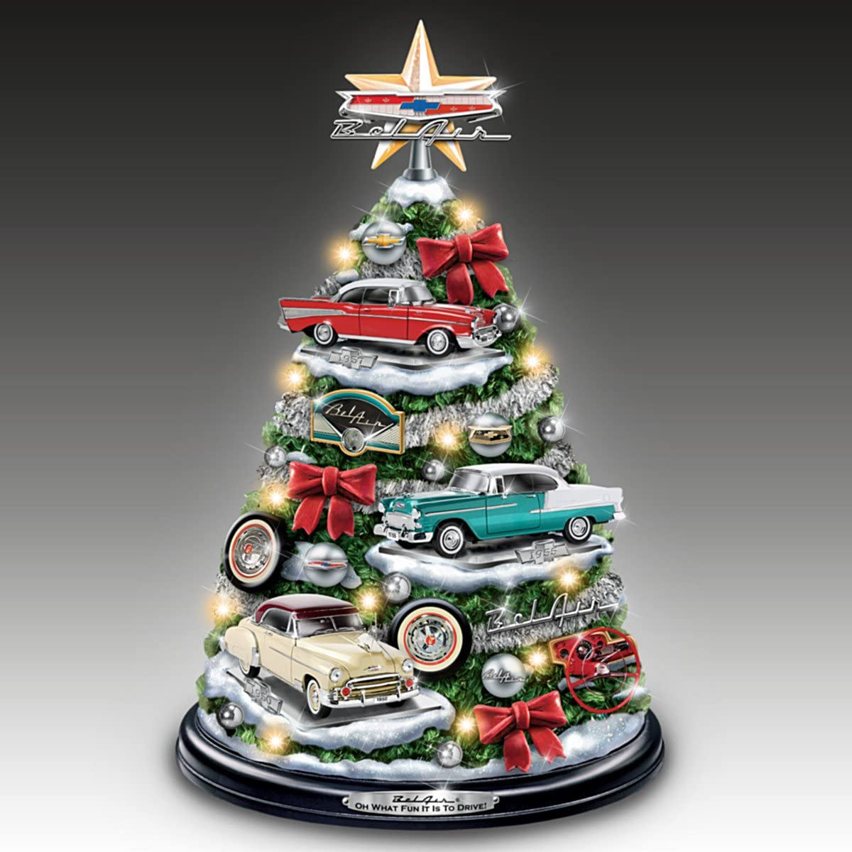 The Bradford Exchange Chevrolet Bel Air Tabletop Christmas Tree with Revving Engine Sound Lights Up