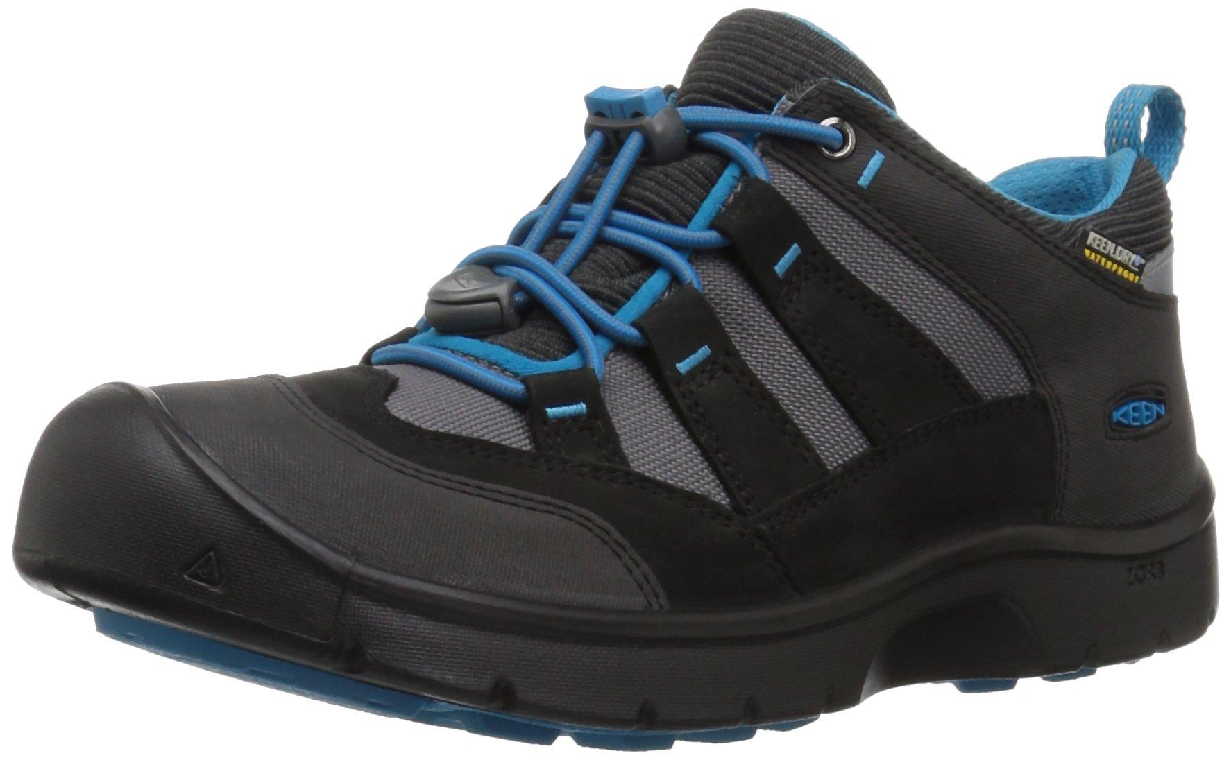 KEEN Kids' Hikeport WP Hiking Shoe,Black/Blue Jewel,3 Youth US Big Kid
