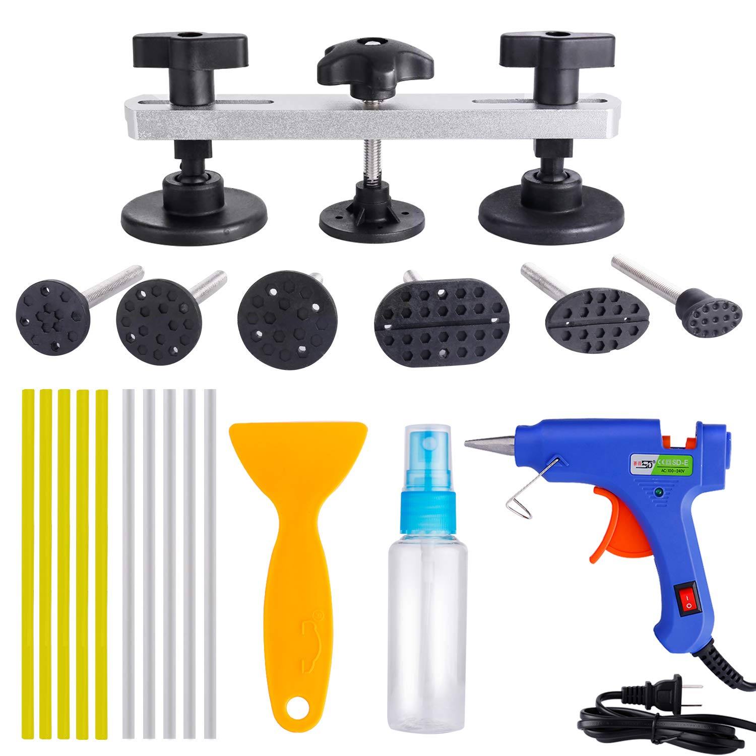 Pops a Dent Bridge Dent Puller Tool Kit, Car Dent Paintless Repair PDR Tools with Hot Melt Glue Gun + 10 Pcs High Adhesive Glue Sticks + Glue Scraper + Alcohol Spray Bottle for Auto Truck Dent Removal