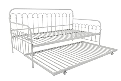 super popular c2768 bf07c Novogratz Bright Pop Twin Metal Daybed and Trundle, Stylish &  Multifunctional, Built-in Casters, White