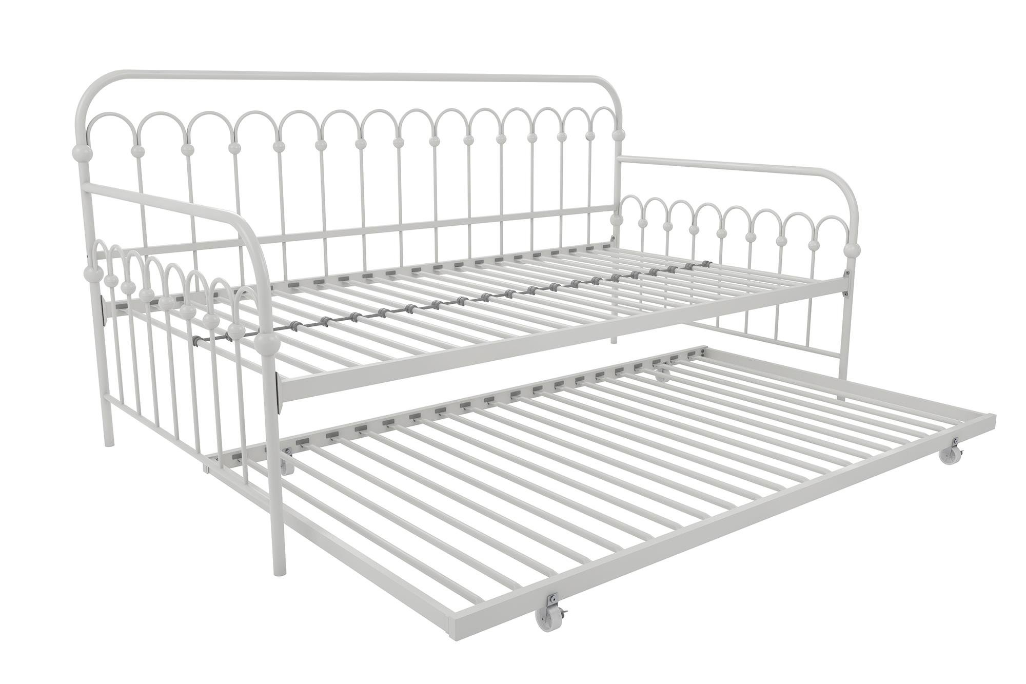 Novogratz Bright Pop Twin Metal Daybed and Trundle, Stylish & Multifunctional, Built-in Casters, White