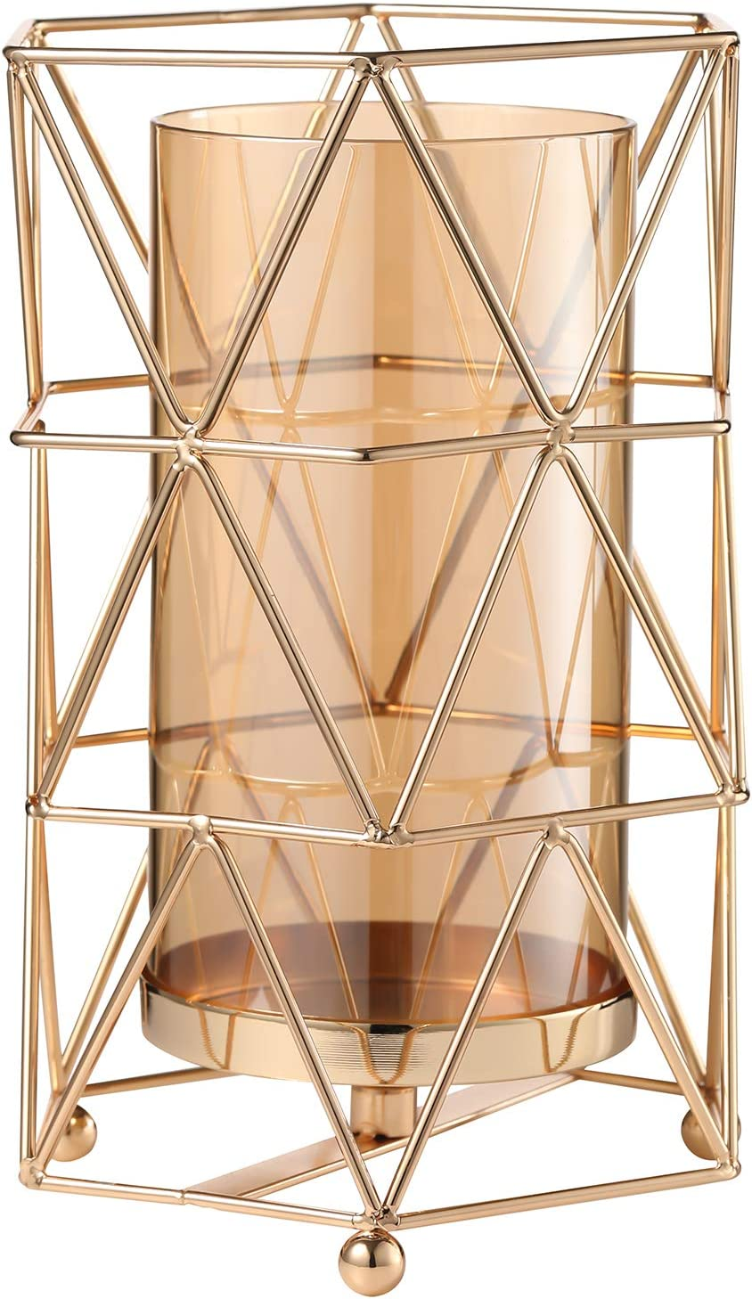 Geometric Glass Vase with Metal Bracket, Crystal Transparent Inner Vase, Hand-Plated Geometric Metal Vase, Rose Gold Vase Decor for Home Office Wedding Holiday Party Gift