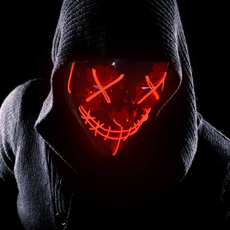 Charlemain LED Maske mit 3 Blitzmodi, Halloween Maske, harmlos, blinkende Maske für Halloween, Karneval, Party, Kostüm Cosplay, Dekoration (rot)