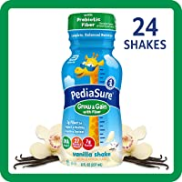 PediaSure Grow & Gain with Fiber, Kids' Nutritional Shake, with Protein, DHA, and Vitamins & Minerals, Vanilla, 8 fl oz, 24 Count