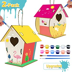 Coodoo 2-Pack Bird House Kits, Arts and Crafts for Kids Ages 8-12, DIY Arts & Crafts House Gardening for Kids & Teens, Boys & Girls Ages 4-8