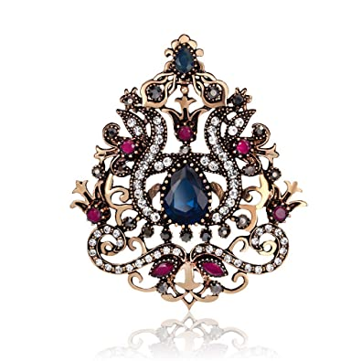 36b12a14f YAZILIND Retro Hollow Inlaid Rhinestones Alloy Resin Brooch Pin Corsage for Women  Girls Accessories(Blue