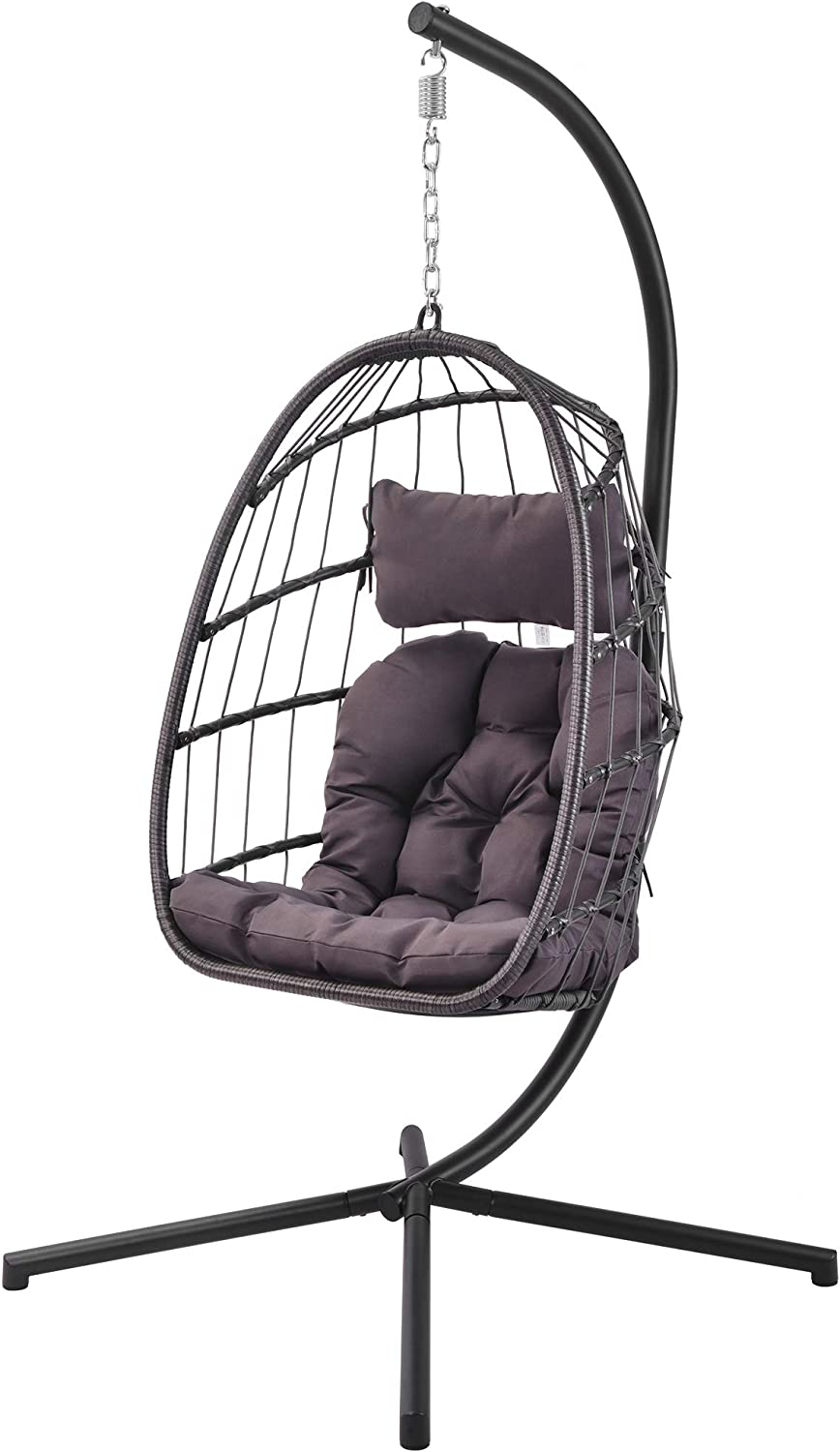 Mid Century Rattan Chair, Amazon Com Patio Hanging Egg Chair With Stand Swing Chair Basket Swinging Chair Porch Chaise Lounge Chair Rattan Wicker Hammock Chair With Deep Cushion For Indoor Outdoor Home Bedroom Backyard Balcony Brown Furniture Decor
