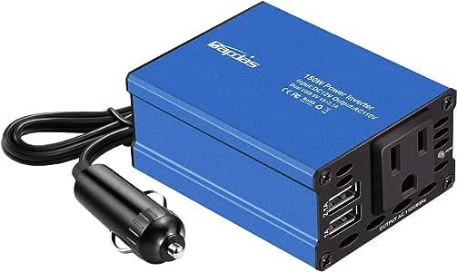 Bapdas 150W Car Power Inverter DC 12V to 110V AC Car Converter2 USB Ports Car Charger Adapter for Plug Outlet New Model (Blue)