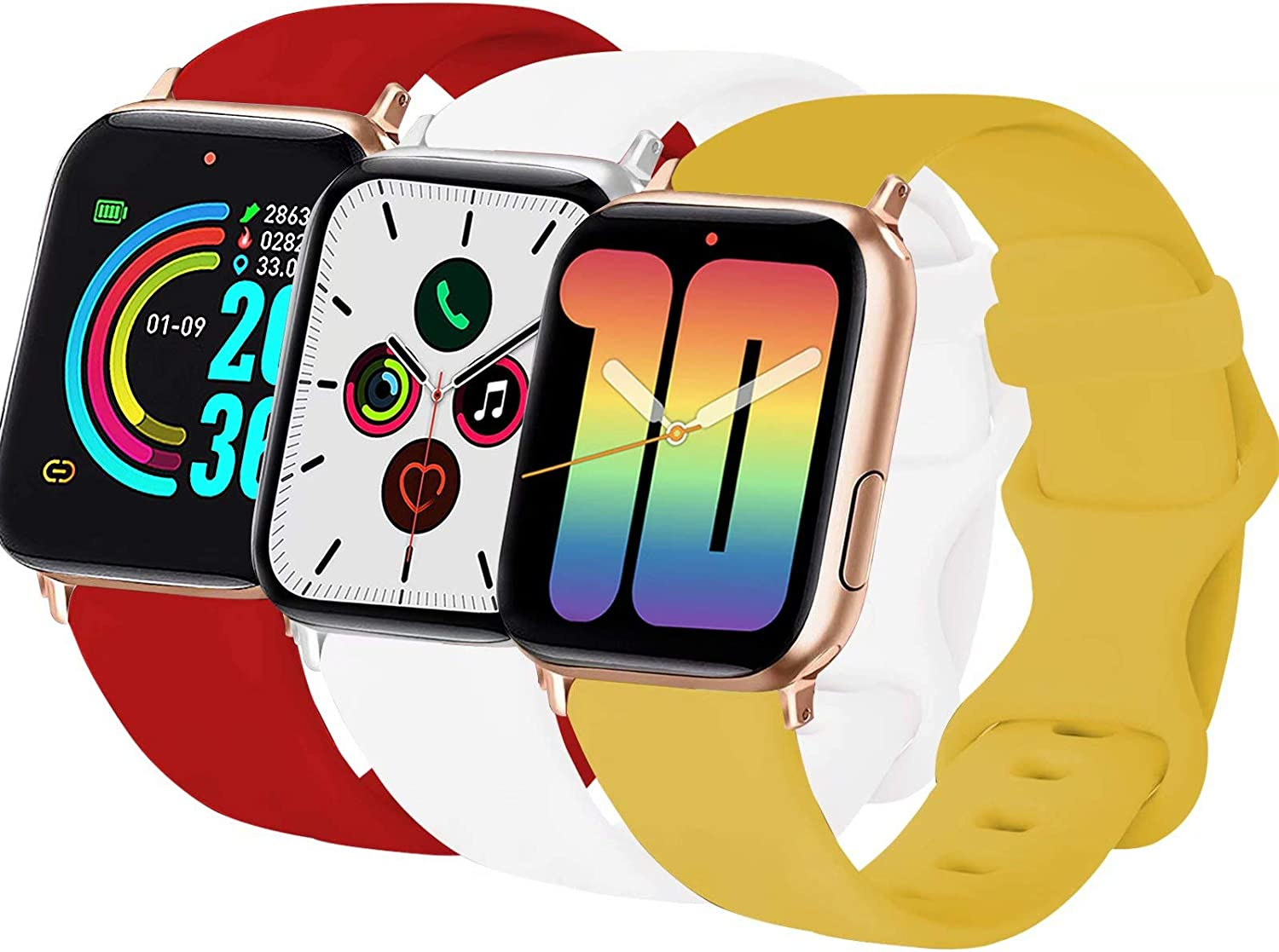 3-Pack VATI Sport Band Compatible for Watch Bands 40MM 38MM 42MM 44MM, Soft Silicone Sport Watchbands Replacement Strap Compatible with iWatch SE/6/5/4/3/2/1 All Models