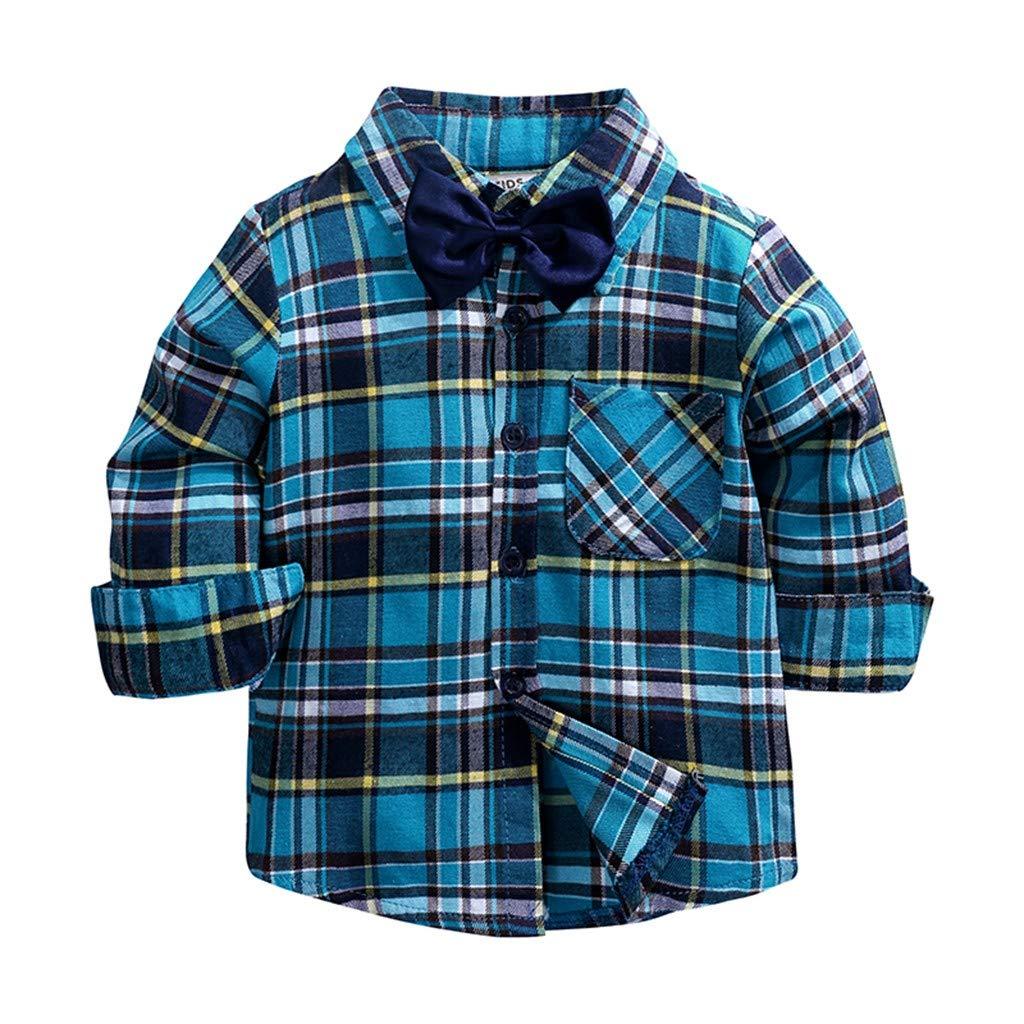 Sameno Children Kids Boys Girls Long Sleeve Plaid Shirt Tops+Denim Pants Jeans Set