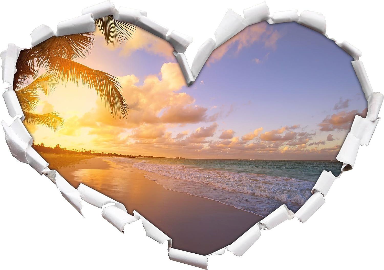 Parete o Adesivo Porta 3D: 62x43.5cm Decalcomanie della Parete Decorazione della Parete autoadesivi della Parete Spiaggia del Mare Tramonto Forma Pietre Sabbia Cuore in Formato Sguardo