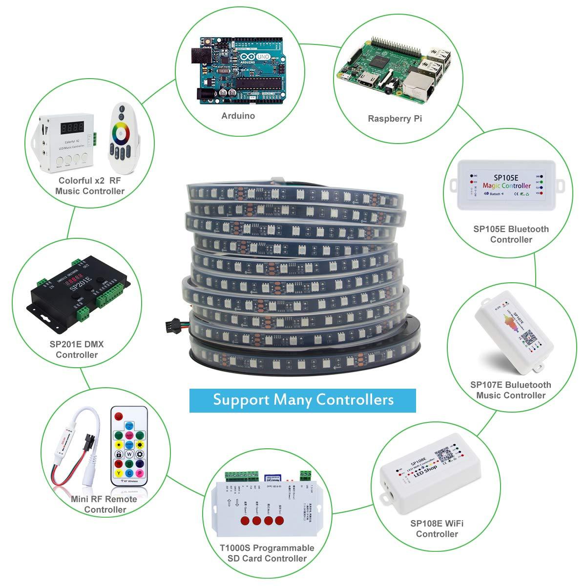 ALITOVE 32 8ft Addressable RGB LED Strip Light WS2811 Dream Color Digital  Programmable Flexible LED Pixel Tape Light 24V 10m 600 LEDs 5050 SMD