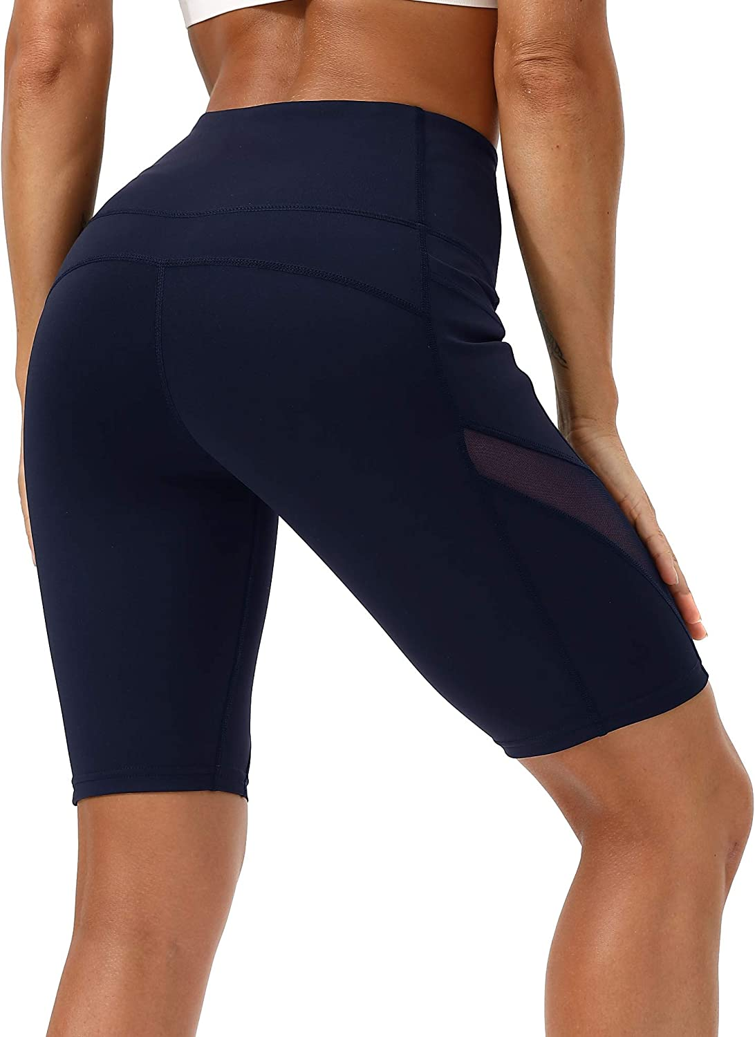 DILANNI Womens Bike Shorts High Waisted Non See-Through Workout Yoga Shorts with Pockets