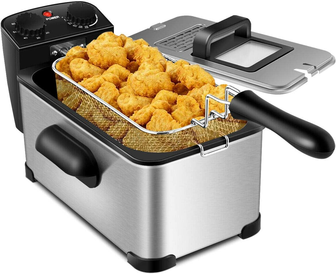 COSYWAY Deep Fryer, 1700W Electric Stainless Steel Deep Fryer -3.2qt Oil Container & Lid w/View Window, 12 Cups Frying Basket w/Hook, Adjustable Temperature & Timer, Professional Grade