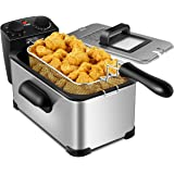 COSTWAY Deep Fryer, 1700W Electric Stainless Steel Deep Fryer -3.2qt Oil Container & Lid w/View Window, 12 Cups Frying Basket