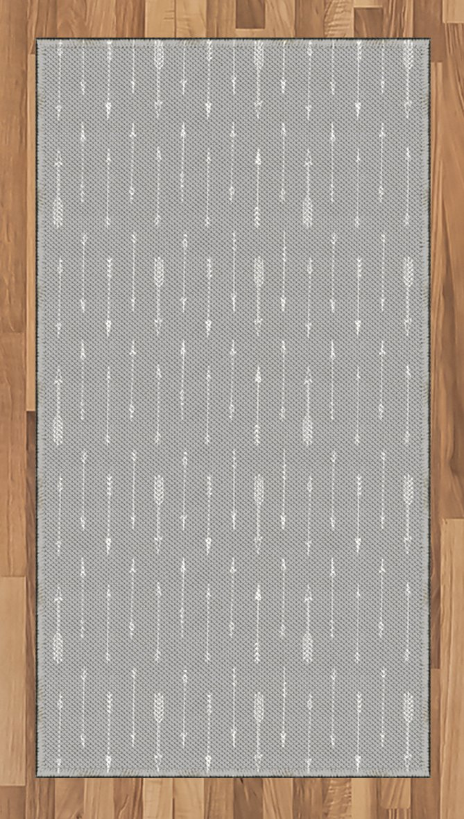 Lunarable Arrows Area Rug, Retro Pattern Arrow Triangle Shape Simple Minimalist Geometric Artwork, Flat Woven Accent Rug for Living Room Bedroom Dining Room, 2.6 x 5 FT, Pale Grey and White
