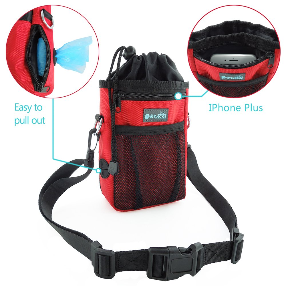 PET OPT Red Dog Treat Pouch with Adjustable Waist Belt&Shoulder Strap Pet Training Clicker (Red)