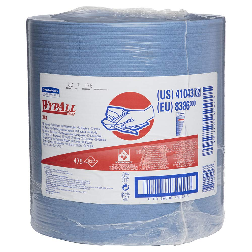 WypAll - KCC41043 X80 Reusable Wipes Extended Use Cloths Jumbo Roll, Blue, 475 Sheets / Roll; 1 Roll / Case
