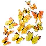 DaGou mixed of 12PCS 3D Pink Butterfly Wall Stickers Decor Art Decorations¡ (Yellow)