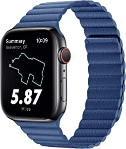 Compatible for Apple Watch Leather Link Band 40mm 38mm Series 6 / SE, Strong Magnetic Adjustable Leather Solo Loop Strap with Flexible Molded Magnets for iWatch Series 5/4/3/2/1(Color Blue)