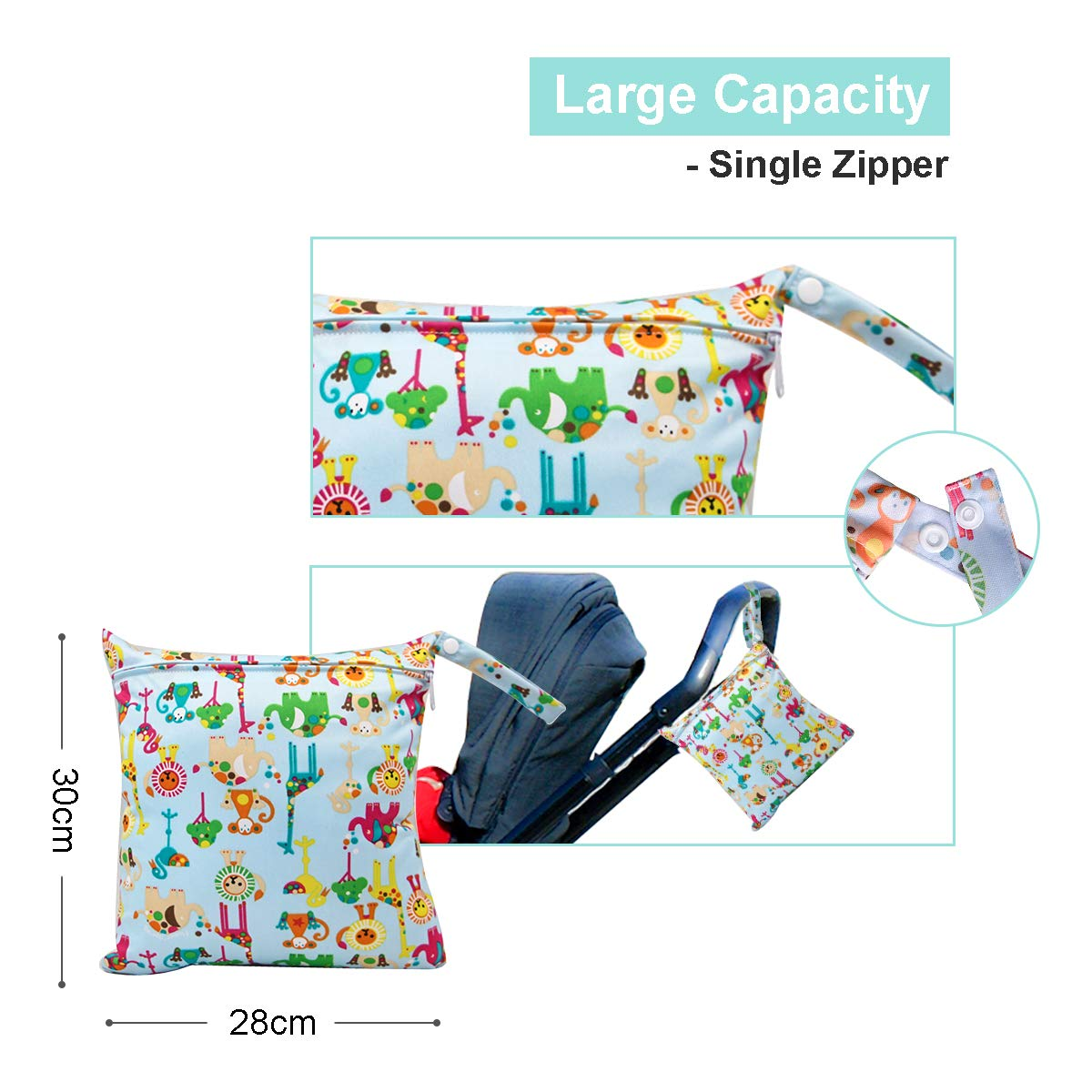 Travel Bag Organiser Waterproof Reusable Produce Bags with Handle and 2 Zipper Pockets HOTLIKE Dry Wet Bag Perfect Gift for Trip Beach Daycare Gym Diapers Wet Bag Blue 3 PCS Nappy Bag for Cloth