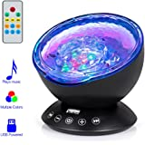 Ocean Wave Projector,12LED Night Light Lamp with Adjustable Lightness Remote Control Timer,7 Color Changing Lighting Modes Projector Lamp Perfect Choice for Baby BedroomDecoration [2020 Version ]