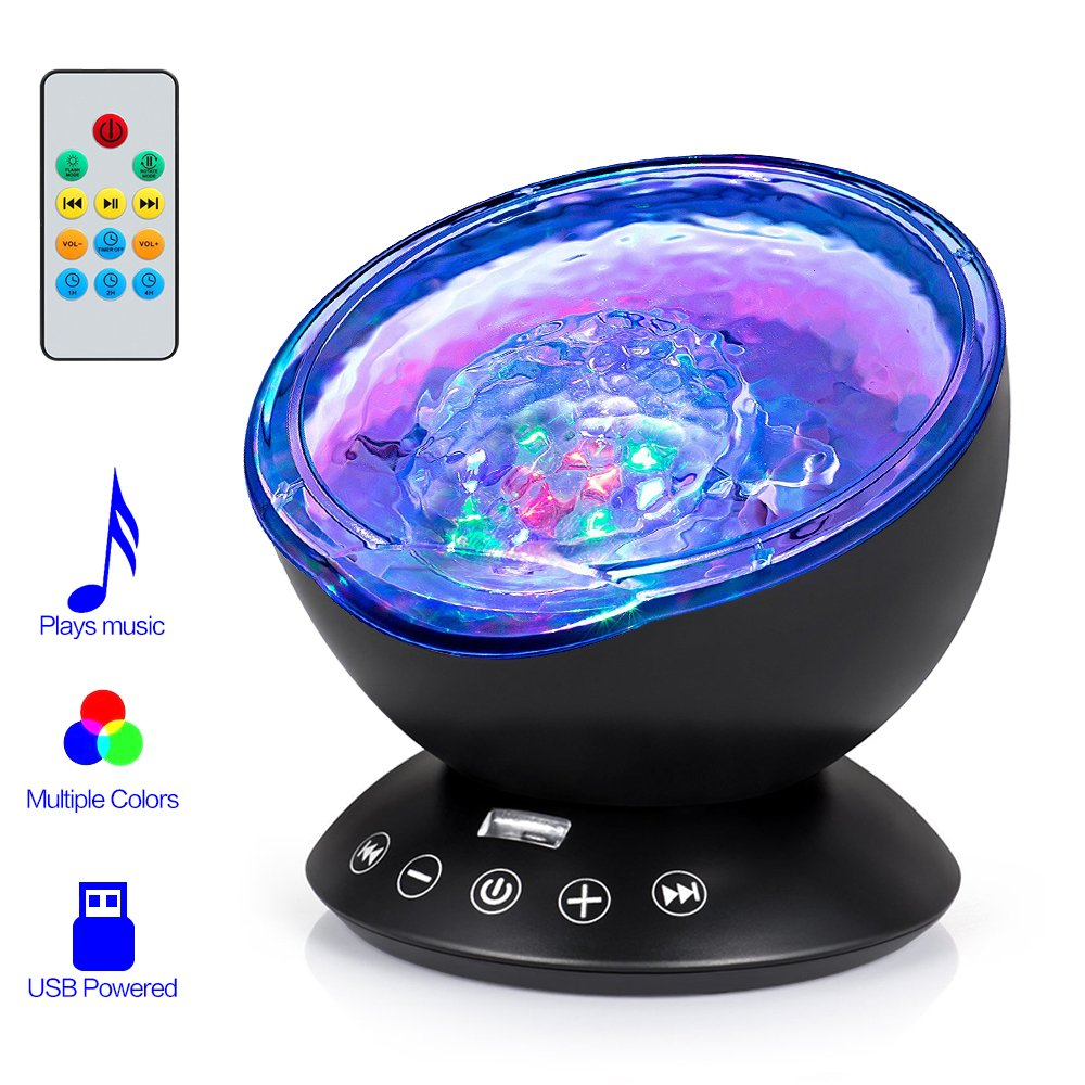 Remote Control Ocean Wave Projector, Hallomall 12LED Night Light Lamp with Built-in Music Player, 7 Color Changing Lighting Modes, Perfect Choice for Baby Nursery Bedroom Living Room(Black) by Hallomall