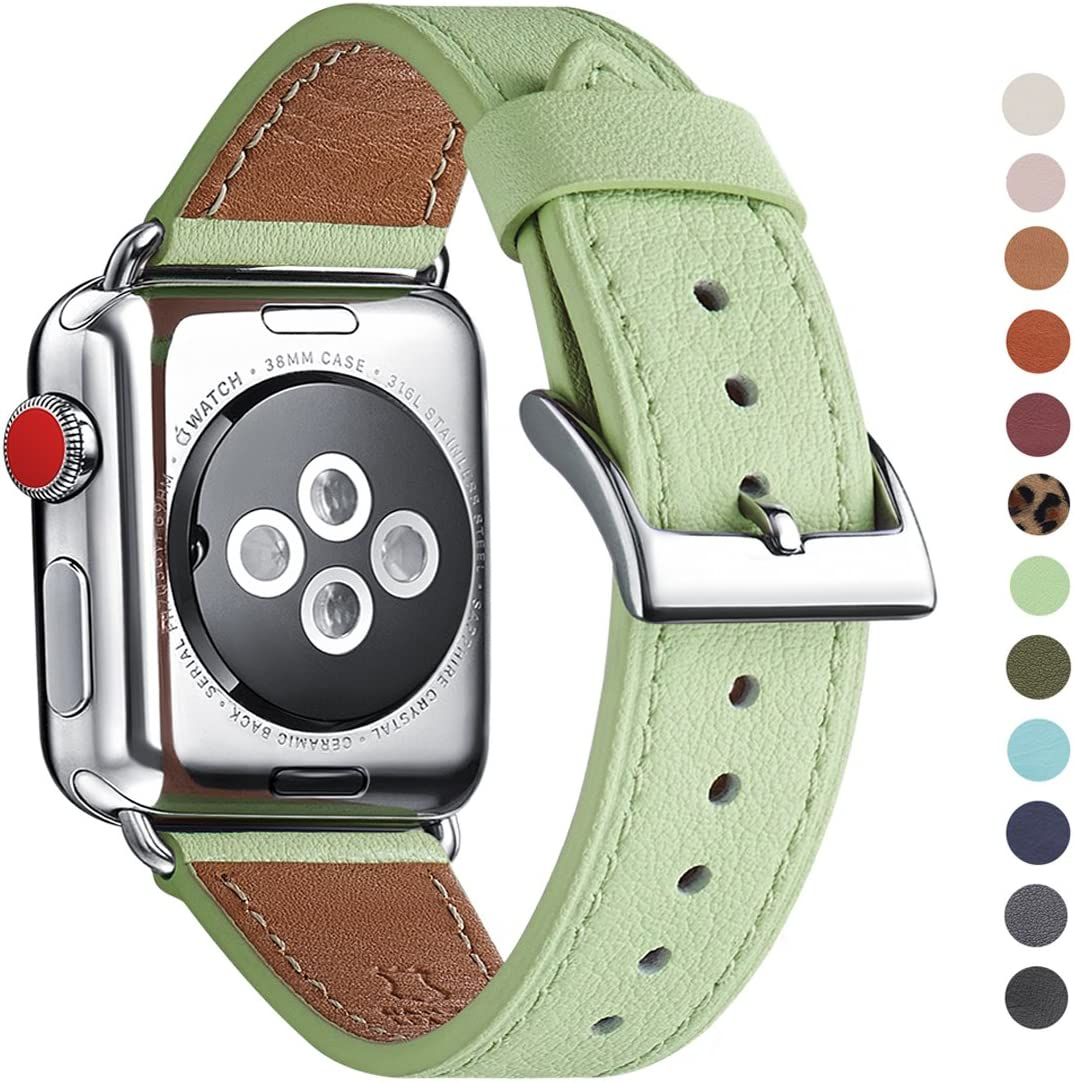 WFEAGL Compatible iWatch Band, Top Grain Leather Band Replacement Strap with Stainless Steel Clasp for iWatch Series 5/4/3/2/1,Sport, Edition (Mint Green Band+Silver Connector, 38mm 40mm)