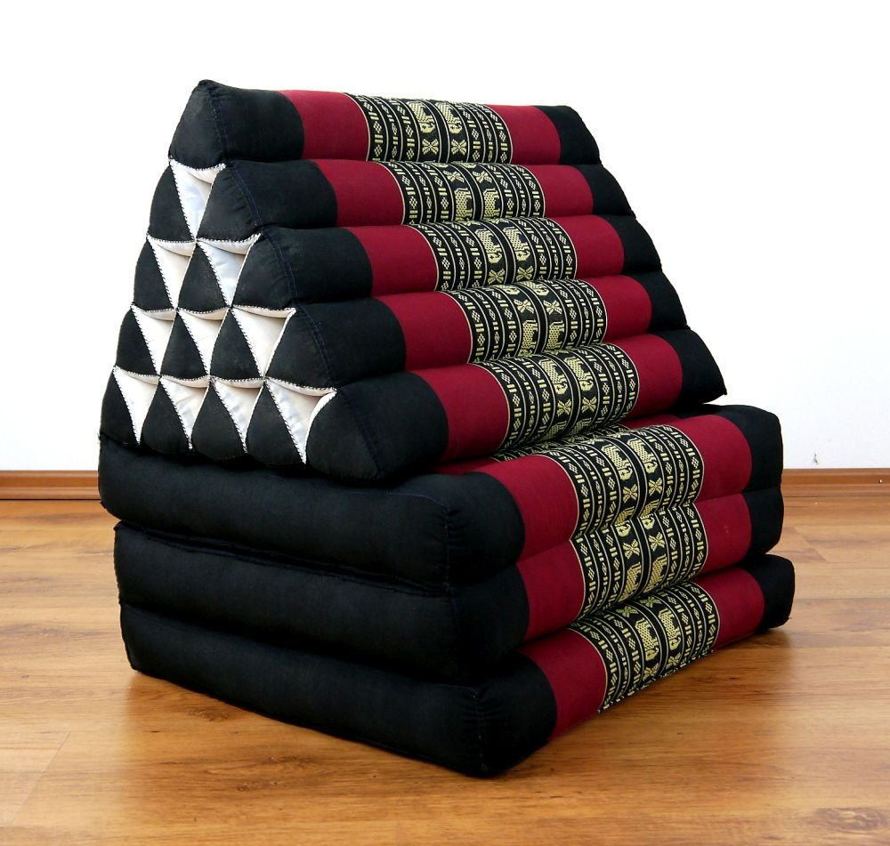 Asia Wohnstudio 3 Fold With Extra Large Triangle Cushion Xxl Jumbo Asian Thailand Pillow / Headrest & 100% Kapok Filling (Black Elephant) 175 X 50 8Cm Black Elephant by Asia Wohnstudio